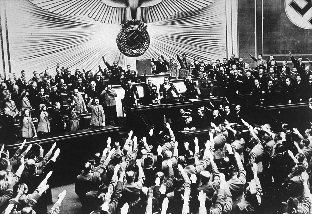 Hitler receives an ovation from the Reichstag after the Anschluss with Austria
